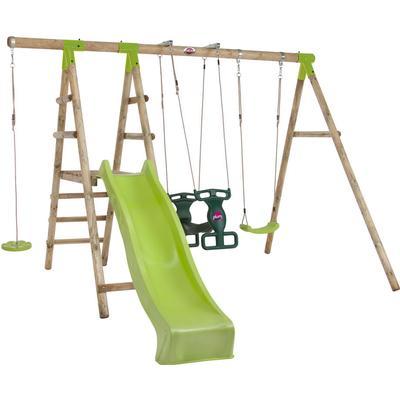 Plum Muriqui Wooden Swing Set with Slide