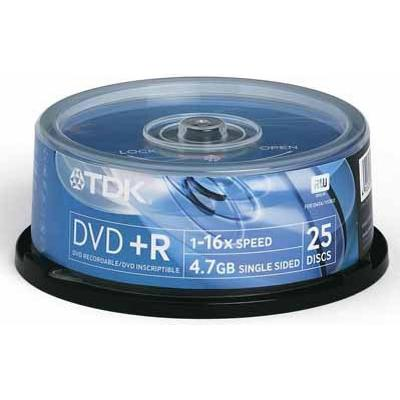 TDK DVD+R 4.7GB 16x Spindle 25-Pack