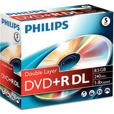 Philips DVD+R 8.5GB 8x Jewelcase 5-Pack