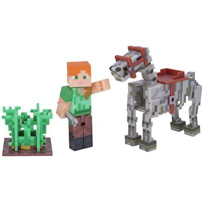 Character Minecraft Alex with Skeleton Horse