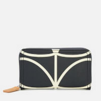 Orla Kiely Giant Linear Stem Big Zip Wallet - Liquorice (0ETCLIN122)