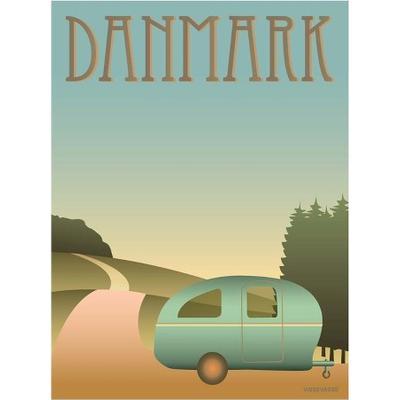 Vissevasse Danmark Camping 30x40cm Affisch