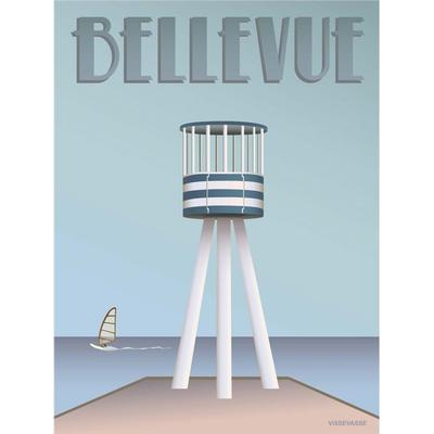 Vissevasse Bellevue Lifeguard Tower 30x40cm Affisch