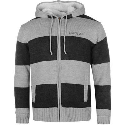 SoulCal Stripe Lined Knit Zip Hoodie Grey Marl/Navy (55225625)