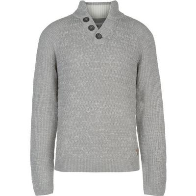 SoulCal Quarter Button Knit Jumper Grey Marl (55211690)