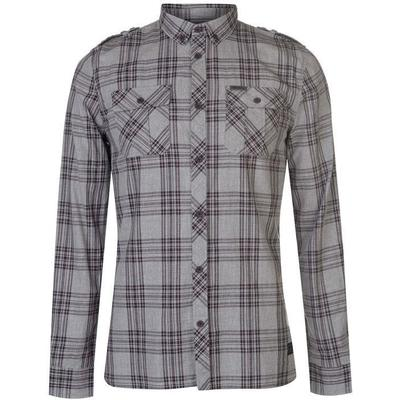 Firetrap Blackseal Large Check Shirt Grey (55011802)
