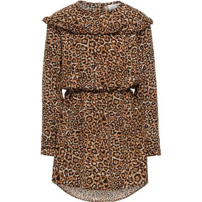 Name It Leopard Printed Long Sleeved Dress - Brown/Moonbeam (13144531)