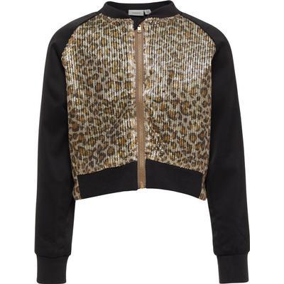 Name It Leopard Patterned Sequin Bomber Jacket - Black/Black (13144533)