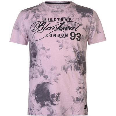 Firetrap Blackseal Skull AOP T-shirt Pink (59078806)