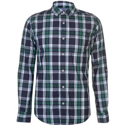 SoulCal Long Sleeve Check Shirt Navy/Green/Wht (55863193)