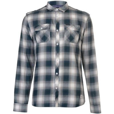Firetrap Blackseal Shadow Check Shirt Teal (55013720)