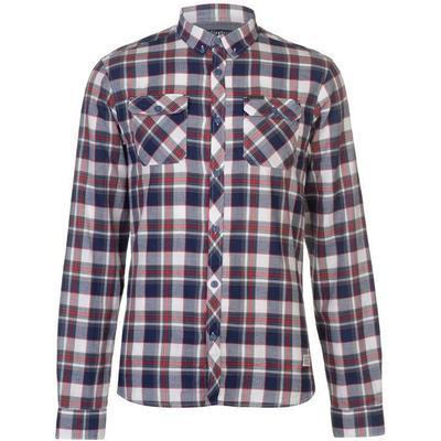 Firetrap Blackseal Herringbone Check Shirt Red/White (55013661)
