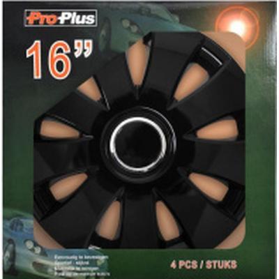 ProPlus Hjulkapsel Aura sort 16 tommer sæt med 4 stks. i display kasse