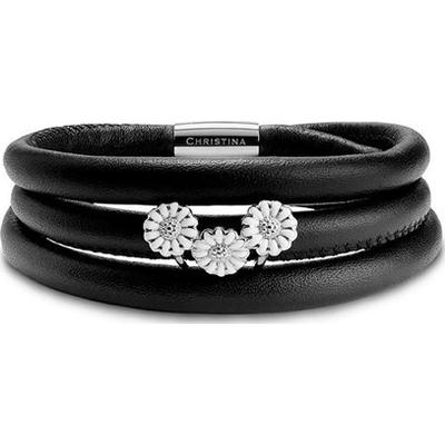 Christina Jewelry & Watches Christina Kampagne armbånd - Læder armbånd med Sølv marguerit charm