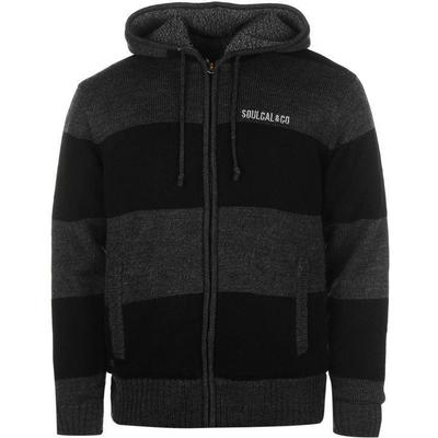 SoulCal Stripe Lined Knit Zip Hoodie Black/Charcoal (55225603)