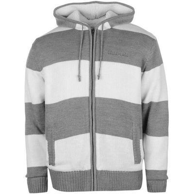 SoulCal Stripe Lined Knit Zip Hoodie Mid Grey M/Crea (55225602)