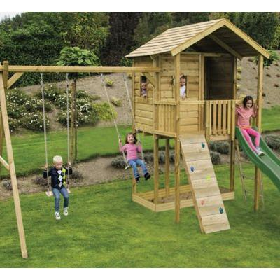 Action Gate Lodge Wooden Climbing Frame Treehouse With Slide, Swings And Climbing Wall