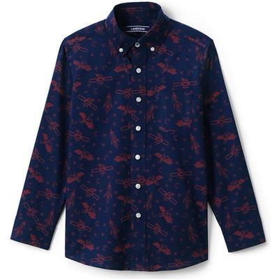 Lands End Print Poplin Shirt - Blue (486211)