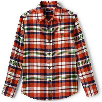 Lands End Flannel Shirt - Lava Orange Plaid (471626)