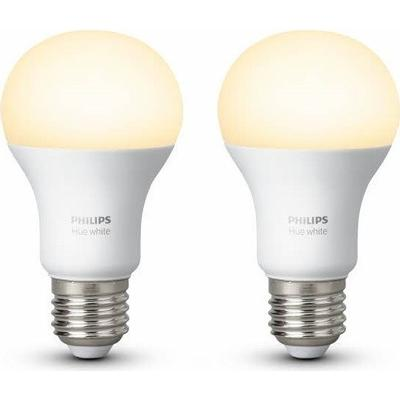 Philips Hue White LED Lamp 9.5W E27 2 Pack