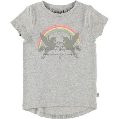 4118af6073a Wheat Rainbow SS T-shirt - Soft Melange Grey - Sammenlign priser hos ...