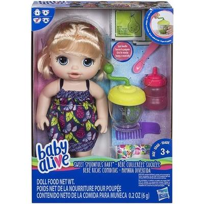 Hasbro Baby Alive Sweet Spoonfuls Baby Doll Girl Blonde Straight Hair E0586