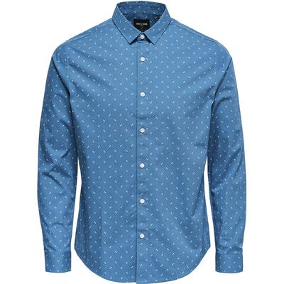 Only & Sons Printed Long Sleeved Shirt Blue/Copen Blue (22008740)