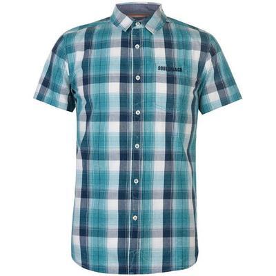 SoulCal Short Sleeve Check Shirt Teal/Navy/White (55722392)