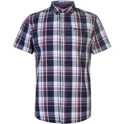 SoulCal Short Sleeve Check Shirt Navy/White/Red (55722394)