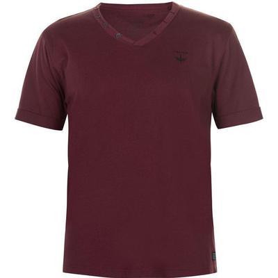 Firetrap Striding V Neck T-shirt Burgundy (68402991)