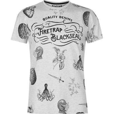 Firetrap AOP T-shirt Ecru Marl (59093204)
