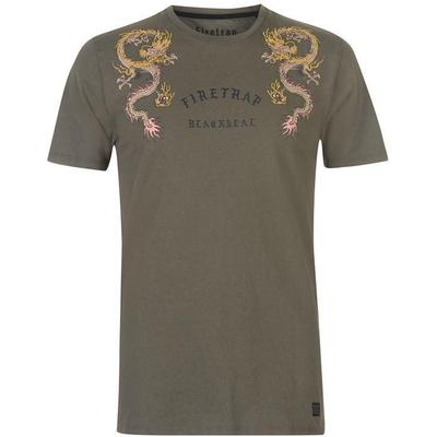 Firetrap Embroided T-shirt Khaki (59094417)