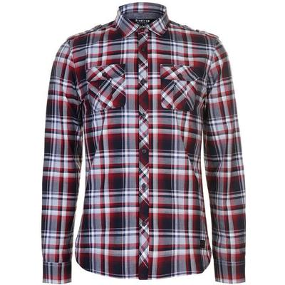 Firetrap Blackseal Long Sleeve Checked Shirt Red (55829508)