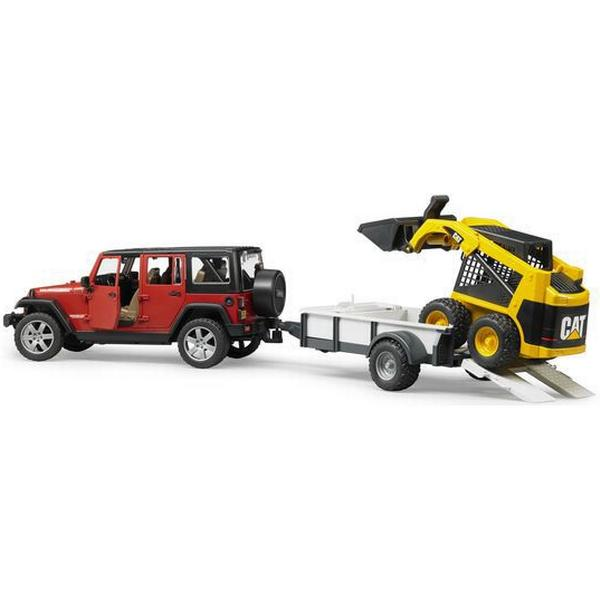 Bruder Jeep Wrangler Unlimited Rubicon With One Axle Trailer And Cat Skid 2925