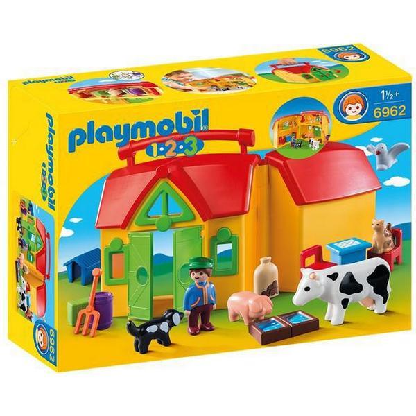 Playmobil 1-2-3 - Rejsebondegård Med Dyr 6962