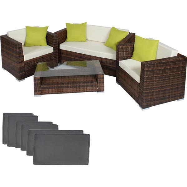 TecTake 401154 Loungesæt, 1 borde inkl. 2 stole & 1 sofaer