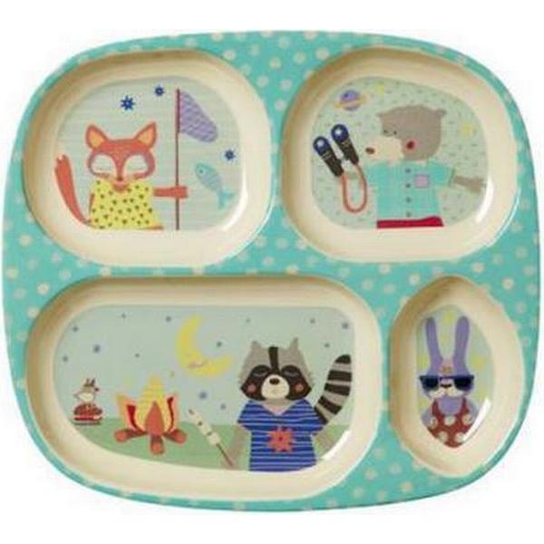 Rice Kids 4 Room Melamine Plate with Boys Happy Camper Print