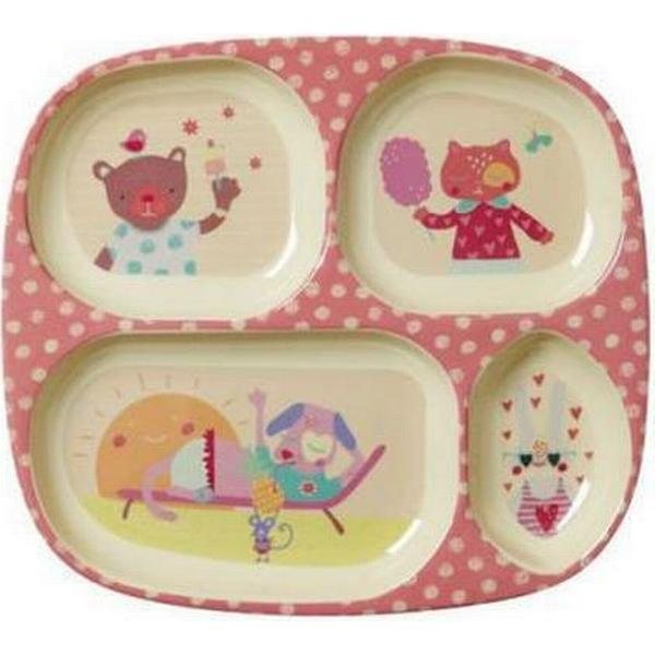 Rice Kids 4 Room with Girls Happy Camper Print Melamine Plate