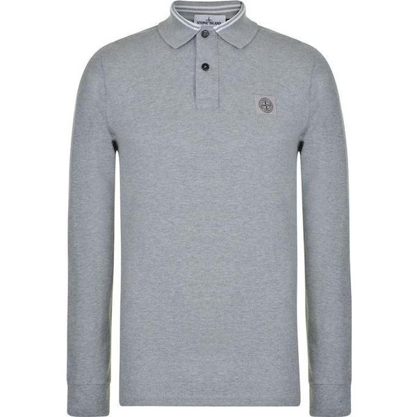 Stone Island Long Sleeved Polo Shirt - Grey Marl