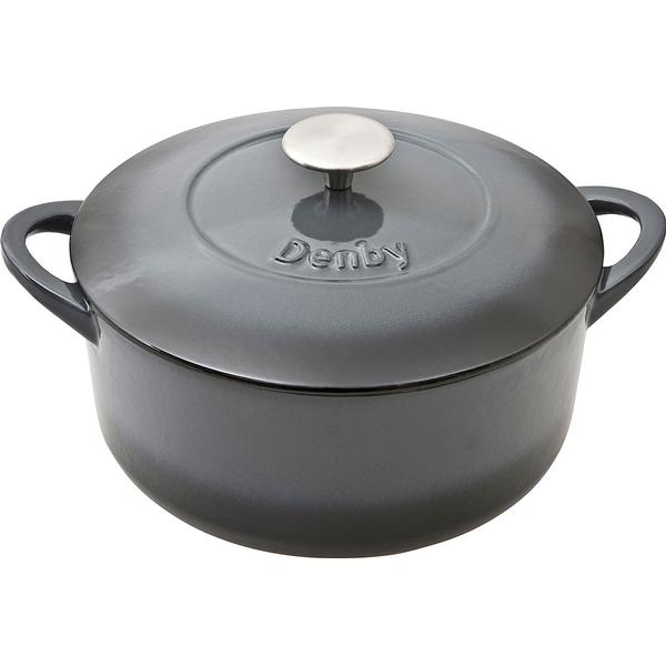 Denby Halo Cast Iron Round Casserole Other Pots with lid 24cm