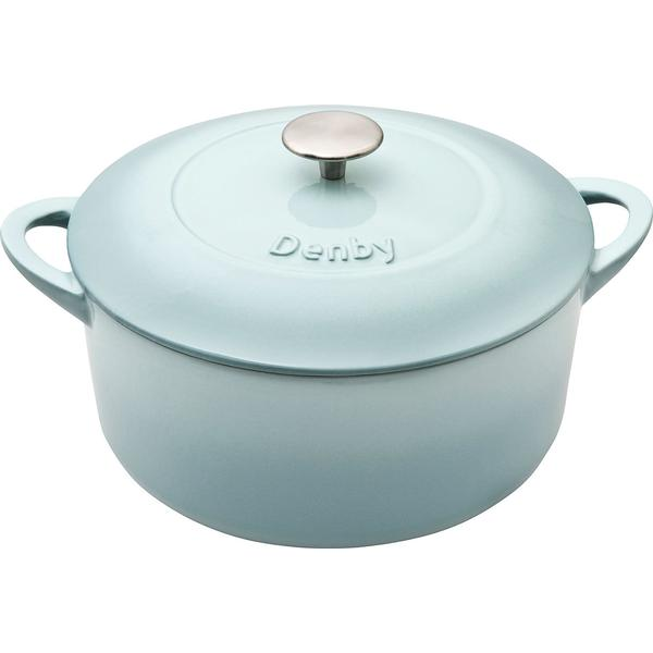 Denby Pavilion Cast Iron Round Casserole Other Pots with lid 24cm