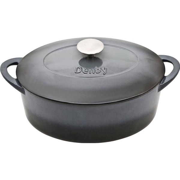 Denby Halo Cast Iron Oval Casserole Other Pots with lid 28cm