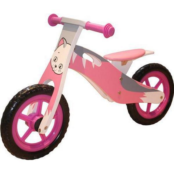 Megaleg Løbecykel Kat i træ med rigtige lufthjul