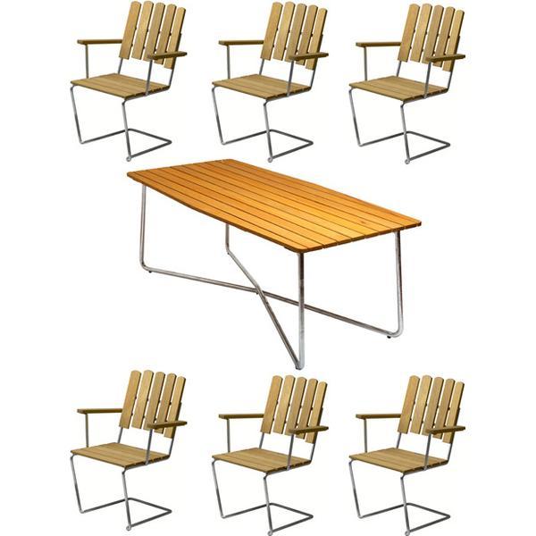 Grythyttan B30 190cm Havemøbelsæt, 1 borde inkl. 6 stole
