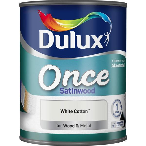 Dulux Once Satinwood Wood Paint, Metal Paint White 0.75L