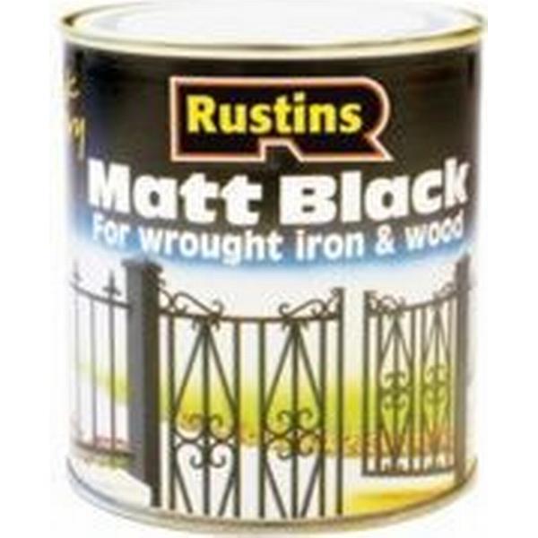 Rustins Quick Dry Black Matt Wood Paint, Metal Paint Black 0.25L