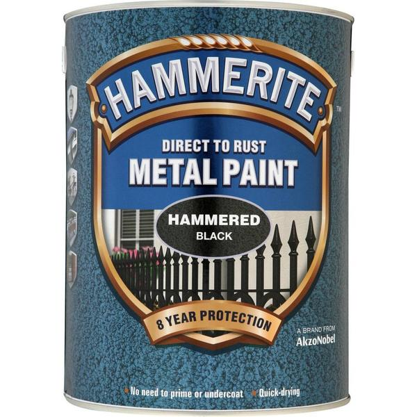 Hammerite Direct to Rust Hammered Effect Metal Paint Black 5L
