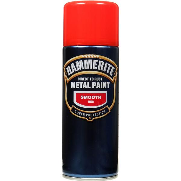 Hammerite Direct to Rust Smooth Effect Metal Paint Red 0.4L