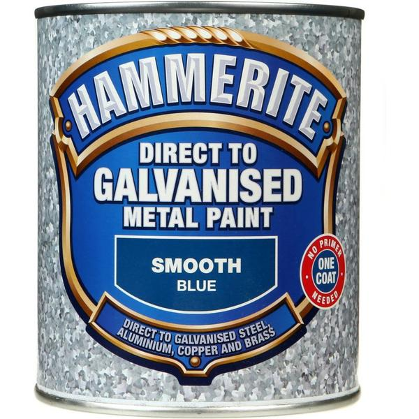 Hammerite Direct to Galvanised Metal Paint Blue 0.75L