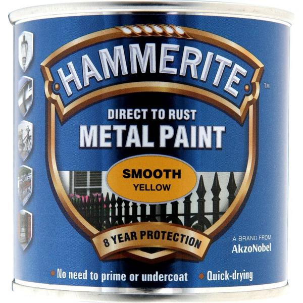 Hammerite Direct to Rust Smooth Effect Metal Paint Yellow 0.25L